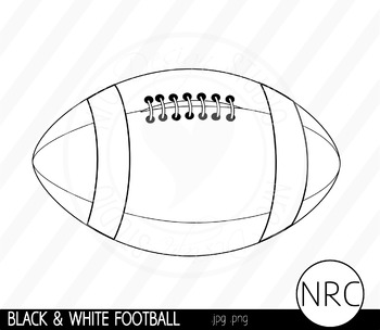 Black and White Football Clip Art- Commercial Use Clipart