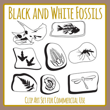 Black and White Fossils Clip Art Set for Commercial Use