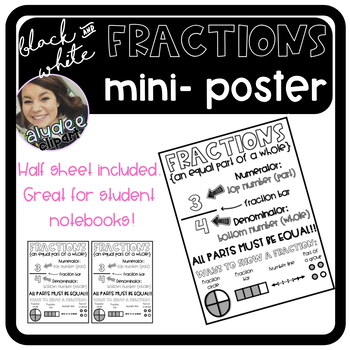 Black and White Fractions Mini Poster