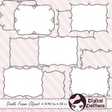 Black and White Frames / Doodle Page Borders / Clipart