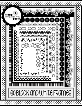 Black and White Frames, Full Page Borders with Transparent Centers