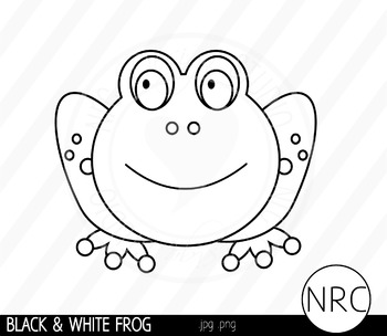 Black and White Frog Clip Art- Commercial Use Clipart