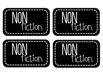 Black and White Genre Library Labels (Editable)