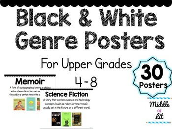 Black and White Genre Posters {5-8 Middle School}