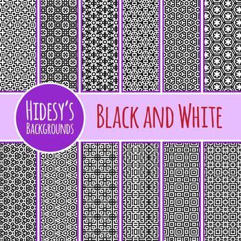 Black and White Geometric Backgrounds / Digital Papers Clip Art Commercial Use