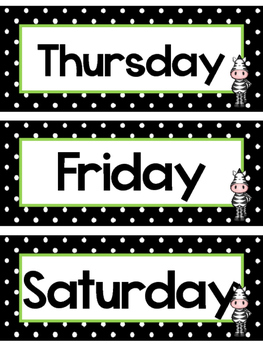 Black and White and Green Zebras Days of the Week Labels.