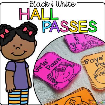 Black and White Hall Passes