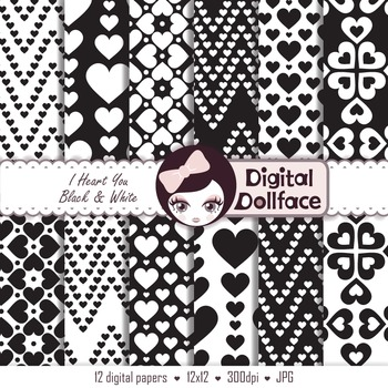 Black and White, Hearts Digital Backgrounds, Paper Patterns