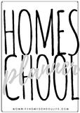 Black and White Homeschool Planner