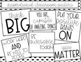 Black and White Inspirational Classroom Posters