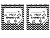 Black and White Interactive Notebook Covers-Editable!