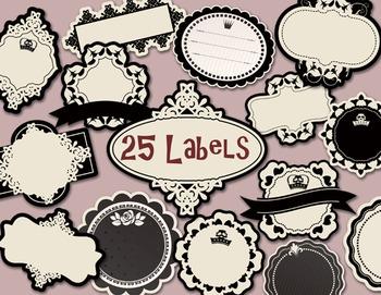 Black and White Label Tag Digital Frame Clip Art Vintage Flower Frame Label Tag