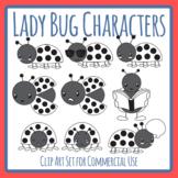 Black and White Lady Bug / Ladybug / Lady Beetle Insect Character Clip Art Set