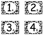 Black and White Leopard Cooperative Learning Table Labels