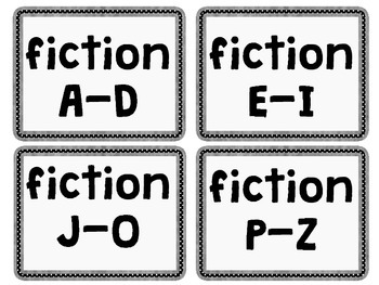 Black and White Library Labels for Elementary