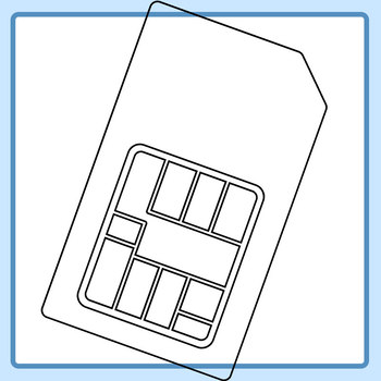 Black and White Line Art Sim Cards Clip Art Set for Commercial Use
