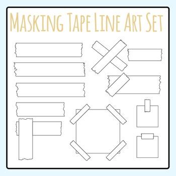 Black and White Masking Tape / Stick Tape Clip Art / Line Art Commercial Use