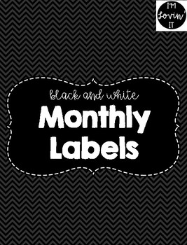 Black and White Monthly Labels