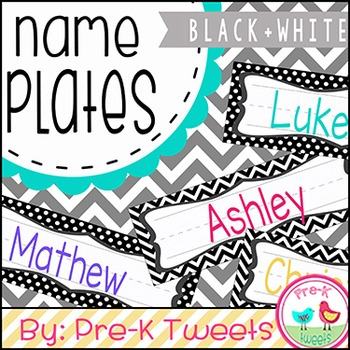 Black and White Name Plates