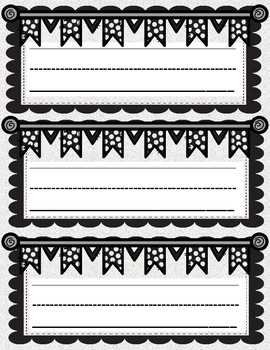 Black and White Name Plates, Bulletin Board Labels, or Word Wall Headings