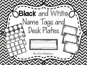 Black and White Name Tags and Desk Plates