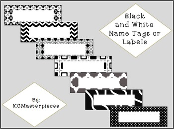 Black and White Name Tags or Labels