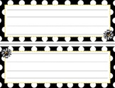 Black and White Name Tents / Plates Polka Dot Daisy
