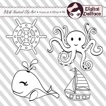Black and White Nautical Clip Art, Black Lines Clipart Graphics