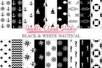 Black and White Nautical digital paper, Seal patterns, Ocean Steering wheel