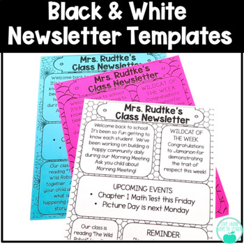 newsletter template editable black white teaching resources