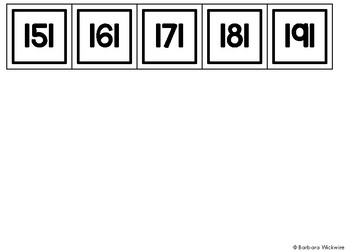 Black and White Number Cards 1 - 200
