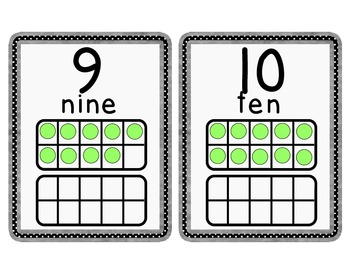 Black and White Number Cards