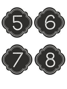 Black and White Number Labels (1-30)