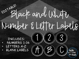 Black and White Number & Letter Labels