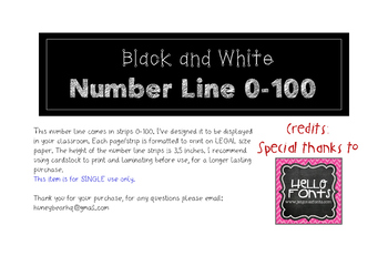 Black and White Number Line 0-100