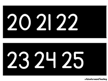 White & Black Number Line 0-120
