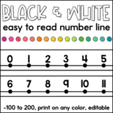 Black and White Number Line 0-125 | Classroom Decor | Ink Saving