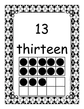 Black and White Number  Posters {0-20}