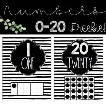 Black and White Numbers 0-20