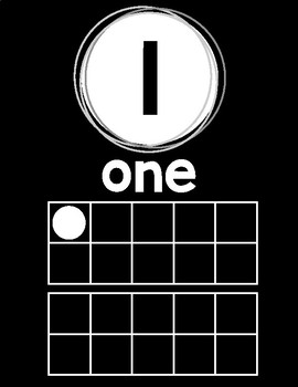 Black and White Numbers 1-20 with ten frames