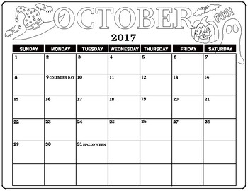 Black and White October 2017 Calendar