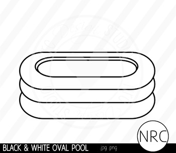 Black and White Oval Pool Clip Art- Commercial Use Clipart