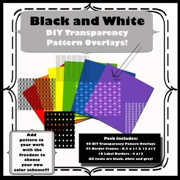 Black & White DIY Transparent Pattern Overlays and Border Frames! Pack #1