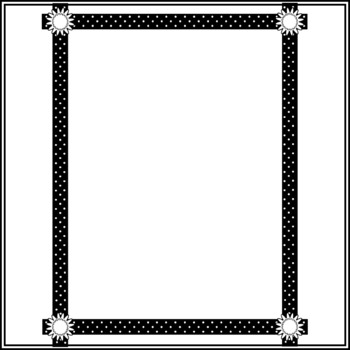 Black and White Page Borders, Polka Dots, Buttons, and Ribbons