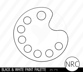 Black and White Paint Palette Clip Art- Commercial Use Clipart