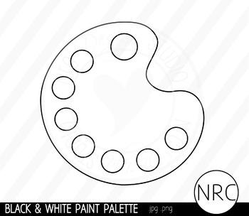 Black and White Paint Palette Clip Art- Commercial Use Clipart