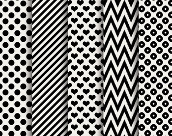 Black and White Papers, Digital Papers, Valentine Paper Set #110