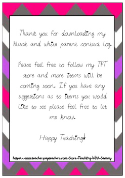 Black and White Parent Contact Log