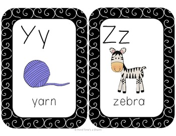 Black and White Patterned Alphabet Cards