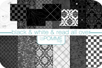 Black and White Patterned Digital Paper Pack